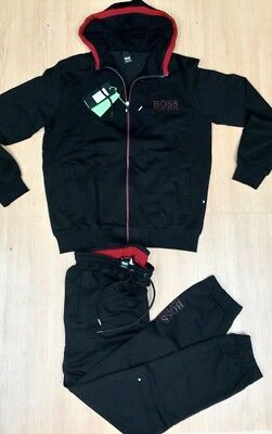 Hugo Boss Black Zipped Hooded Tracksuit  Top and Bottoms Size Large