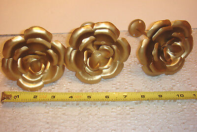 3 Home Interiors Gold Metal Rose Curtain Tie Back Lot New