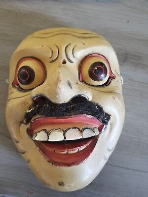 Bali Indonesian Folk Art Mask Hand Carved Wood Wooden ~ Handpainted VINTAGE