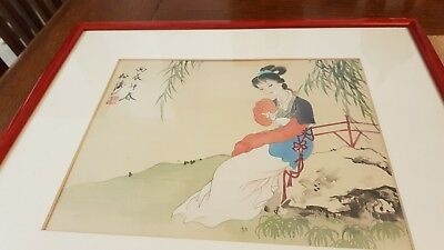 Antique Chinese watercolour of a Seated Lady