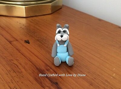 Miniature Hand Crafted Polymer Clay Schnauzer Wearing Overalls Figurine