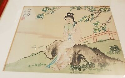 Antique Chinese watercolour of a Lady seated upon a rock
