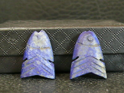 (kV240b) 2 Lapis Lazuli beads hand carved (ancient Egyptian style)
