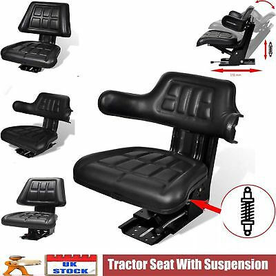 Tractor Seat with Backrest Black Arm Rest Waterproof Lawn Forklift Replace Chair