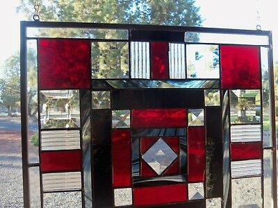 Black Baroque, Bevels in a Art Deco Stained Glass Panel   14 by 14 inches