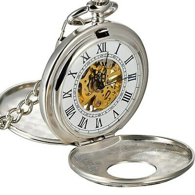 Mechanical Pocket Watch Double Hunter Vintage Antique Style Silver