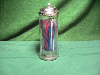Clear Glass  Metal Top Straw Holder vintage inspired