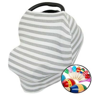US Baby Car Seat Canopy Stretchy Infant Nursing Cover Multi-Use 5 in 1- FREE TOY