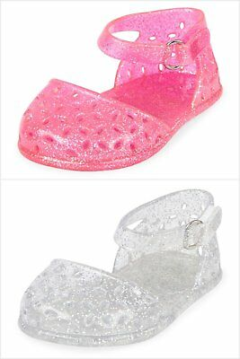 NWT The Childrens Place Baby Girl Pink Silver Glitter Floral Jelly Sandals Shoes