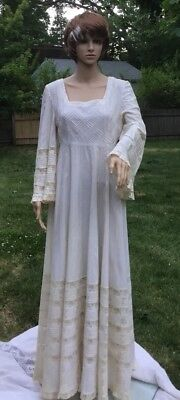 Fred Leighton Vintage Mexican Wedding Dress Lace Maxi Size 12
