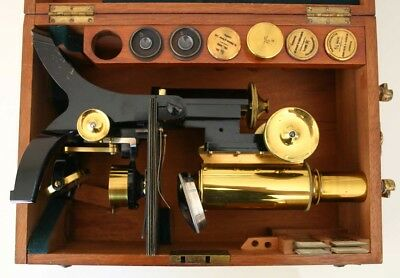 ALL BRASS SWIFT MICROSCOPE OUTFIT, MAHOGANY FITTED CASE 4 OBJECTIVES c 1900