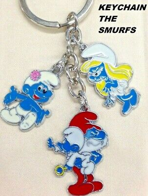 SMURFS SMURFETTE PAPA SMURF Cartoon KEYCHAIN KEYRING CHARM DANGLE NEW #3