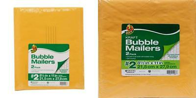 Duck Kraft Bubble Mailers, #2 (8.5 in. x 11 in.), Self-Sealing, 2-Count