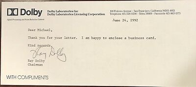 RAY DOLBY Signed Note From 1992..AMERICAN ENGINEER & INVENTOR..Deceased in 2013