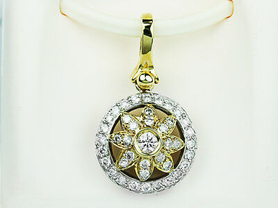 0.98 Carat Natural Round Cut Diamond Pendant / Necklace in 14k Gold