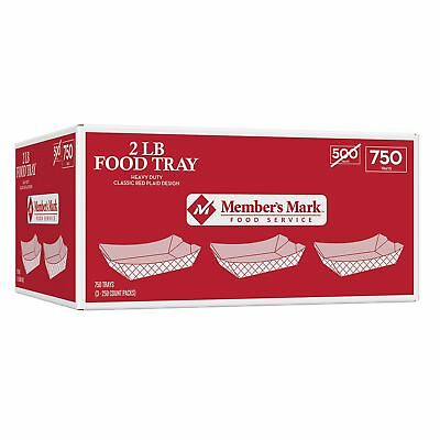 Disposable Paper Food Trays Red Plaid Boat 2 lb. Capacity 750 ct.