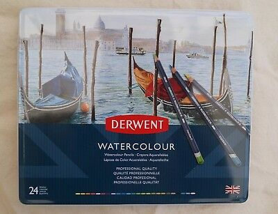 Derwent Watercolour Pencils. Professional Quality. 24 With Tin. New. Sealed.