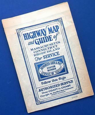 1920s MASS./CONN./RHODE ISLAND highway MAP & GUIDE Authorized/Mid-State Map Co.
