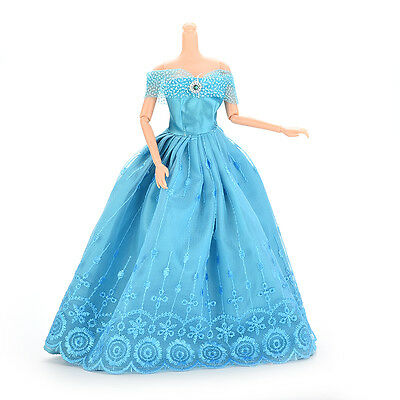 1 Pcs Handmade Party Doll Dress Clothes Blue Gown For Barbie Christmas Gift O