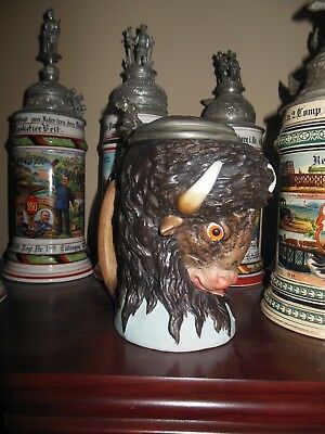 Rare antique German character beer stein Bison or buffalo head - fantastic!