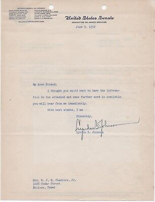 Original Signed Letter By Lyndon B. Johnson - Dated 1952