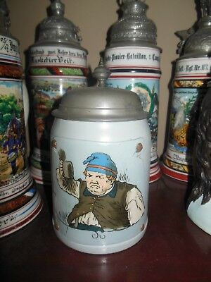 Antique Mettlach German etched tapestry stein 1047 old man drinking a beer