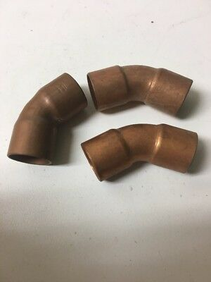 "Lot Of (3) 3/4"" Copper Sweat Elbow Fitting"