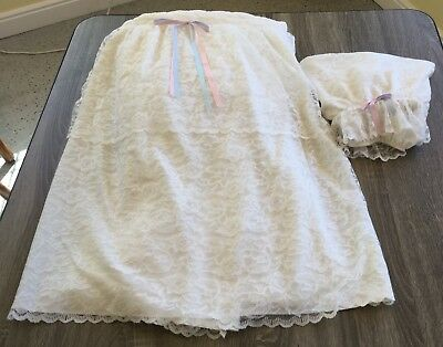 Vintage Baby Bassinet Cover Fully Lined Lace Outer Great