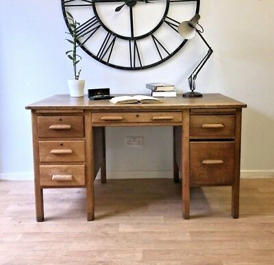 Vintage Oak Twin Pedestal Desk