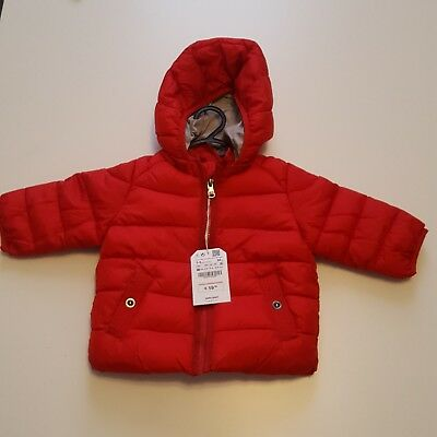 Zara Baby Boy Puffer Jacket/Coat Red With Snap Detachable Hood Outerwear 3-6 Mos