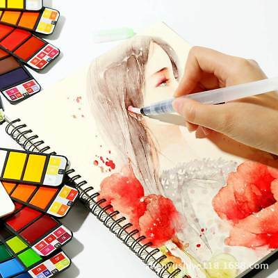 18/25//33/44 Colors Foldable Watercolor Paint Set with Brush for Field Sketch AU