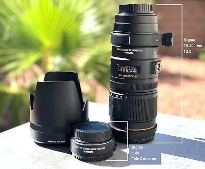 Sigma EX 70-200mm f/2.8 HSM DG For Canon EF Mount + 1.4x  Teleconveter Adapter