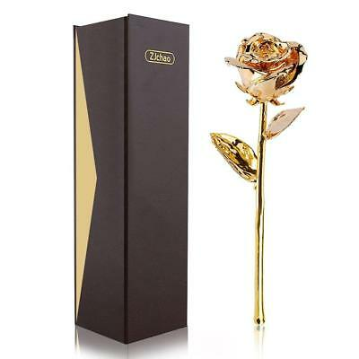 ZJchao 24K Gold Plated Real Rose Flower 11 Inches Long Stem Everlasting Dipped