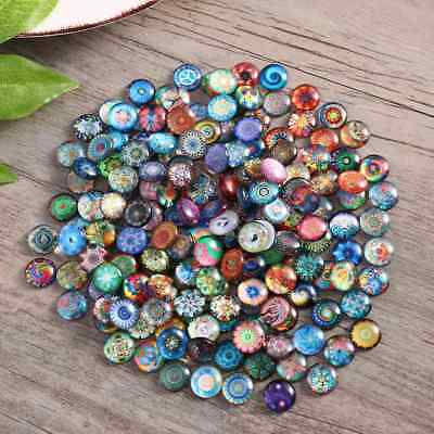 200X Mixed Round Mosaic Tiles Crafts Glass Supplies fr Jewelry Making 10/12/14mm