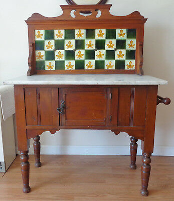 Small Antique Marble Top Sideboard With Tile Back