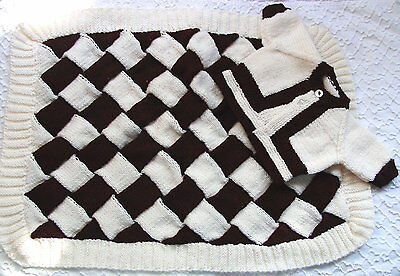 HAND KNIT BROWN AND CREAM  BABY BLANKET WITH SWEATER SOFT 30 x 22 inches