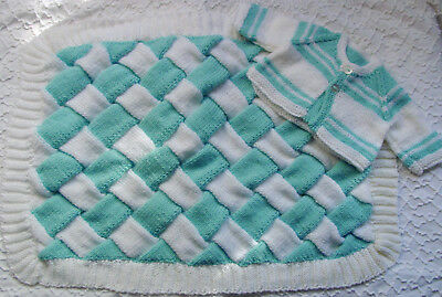 HAND KNIT BLUE AND WHITE   BABY BLANKET WITH SWEATER SOFT 30 x 22 inches