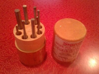 STARRETT DRIVE PIN PUNCH SET No. S565WB in Original Wood Box Made in USA
