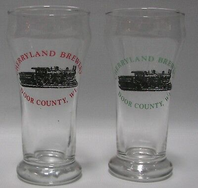 Cherryland Brewery, Sturgeon Bay, WI Door County,  two sham pilsner beer glasses