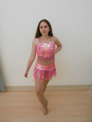 Adult Medium Pink Sequin Skirt and Top Dance Costume