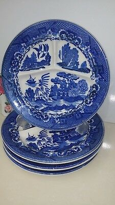 "Moriyama Blue Willow Japan Divided Grill Plate. 10 1/4"". 4Pcs."