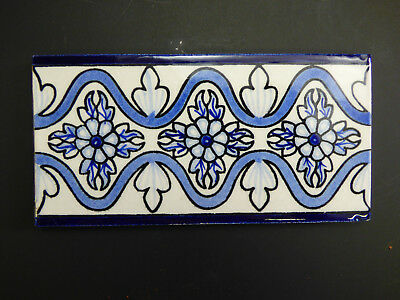 """3""""X6"""" 8 PC Blue White Floral Border Accent Hand Painted Mexican Talavera Tile"""
