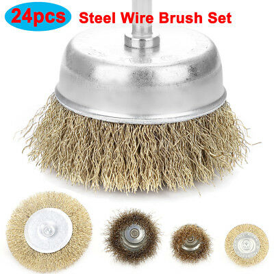 "24pcs Wire Wheel Brush Cup Assortment Crimped Steel 1/4"" Shank Drills Rust Scale"