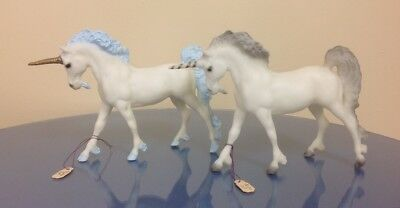 2 Rare Breyer Little Bit Unicorns Blue & Grey manes tails horses 1985 SR