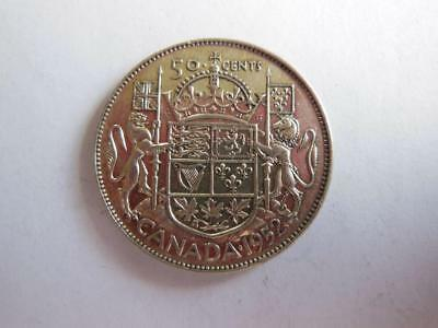 1952 Canada 80 Percent Silver 50 Cent Coin, Nice Condition