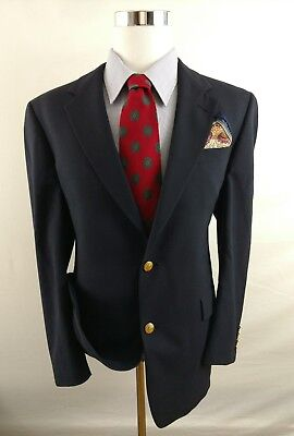 Hart Schaffner Marx Mens Navy Blue Blazer Jacket Sport Coat Gold Buttons Sz 42 R