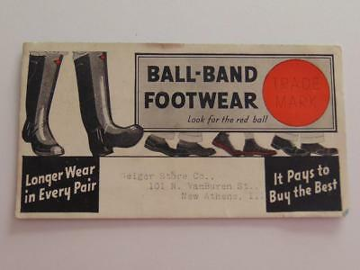Ball Band  Footwear Ink Blotter Geiger New Athens Ill Vintage Advertising Ad