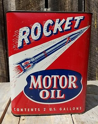 Rocket 2 gallon motor oil can. Great graphics!