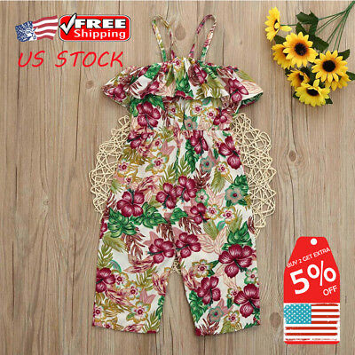Toddler Kids Baby Girl Floral Off Shoulder Ruffle Jumpsuit Romper Cotton Clothes