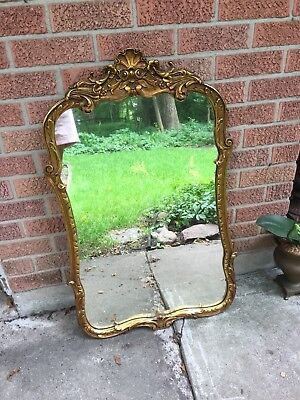 Lovely Antique Gilt Wood Gesso Ornate Mirror Very Old Carved